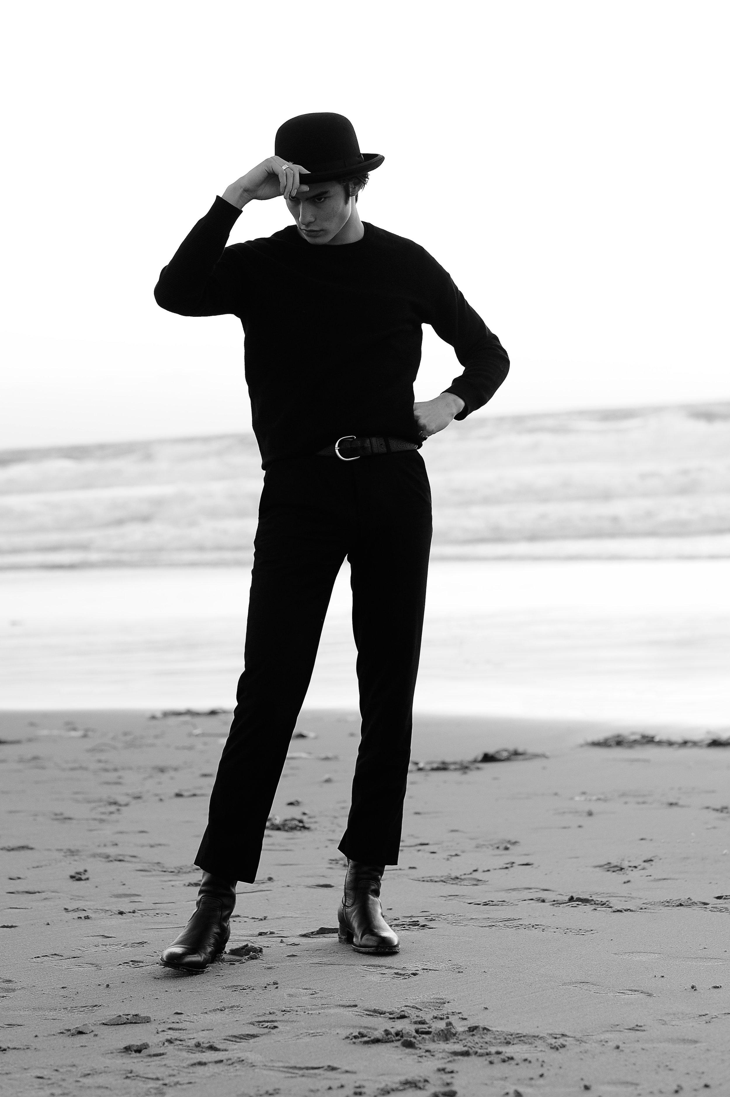 Top: H&M / Pants: Alexander McQueen / Belt: Vintage / Hat: Jacobson / Rings: Vintage / Boots: Saint Laurent