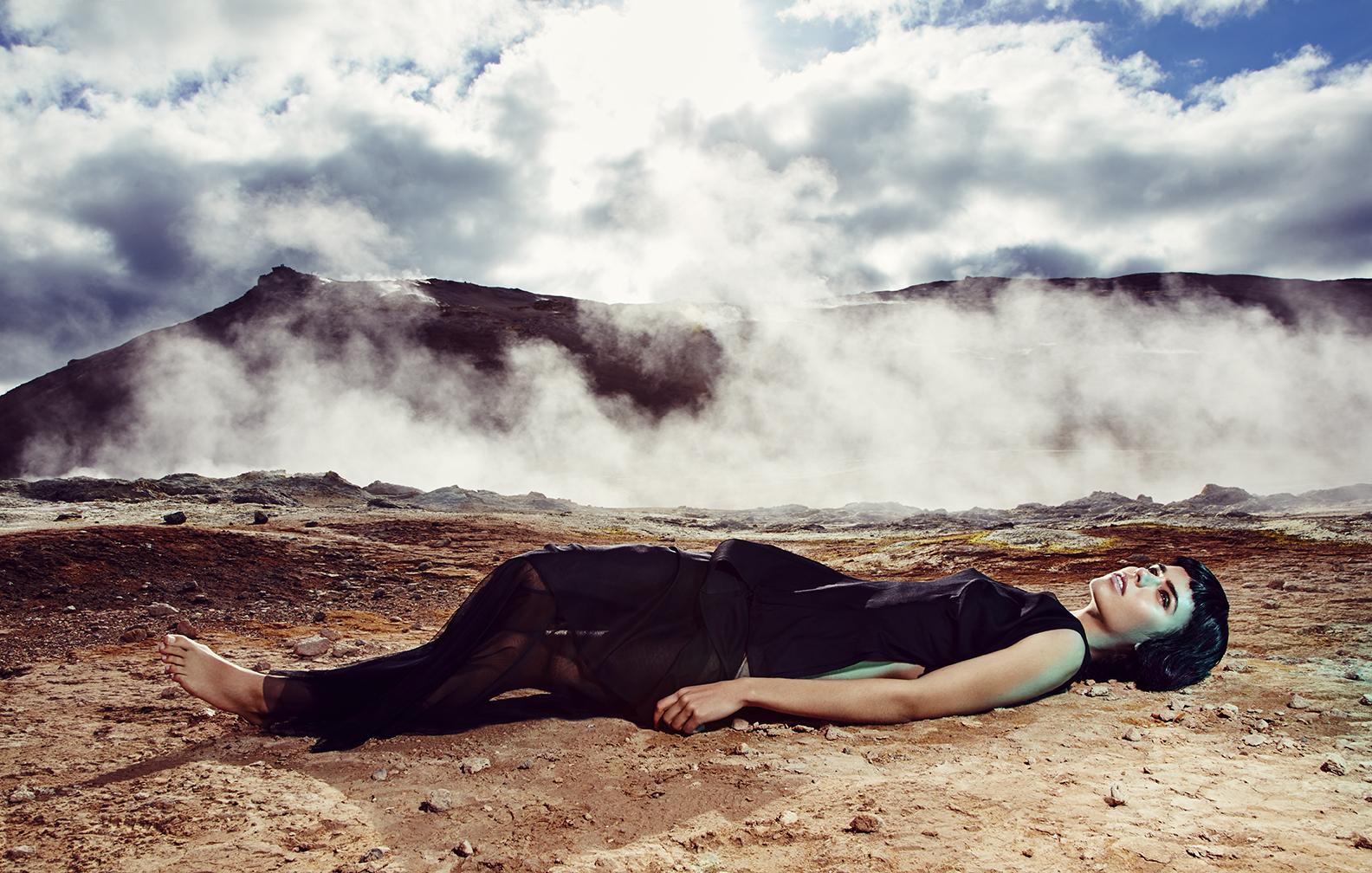 Top: Yohji Yamamoto / Skirt: BreeLayne / Necklace & Ring: Erickson Beamon