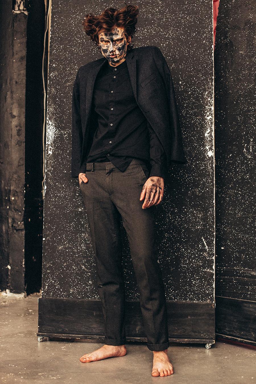 Jacket: Prada / Shirt: Saint Laurent / Trousers: Top Man