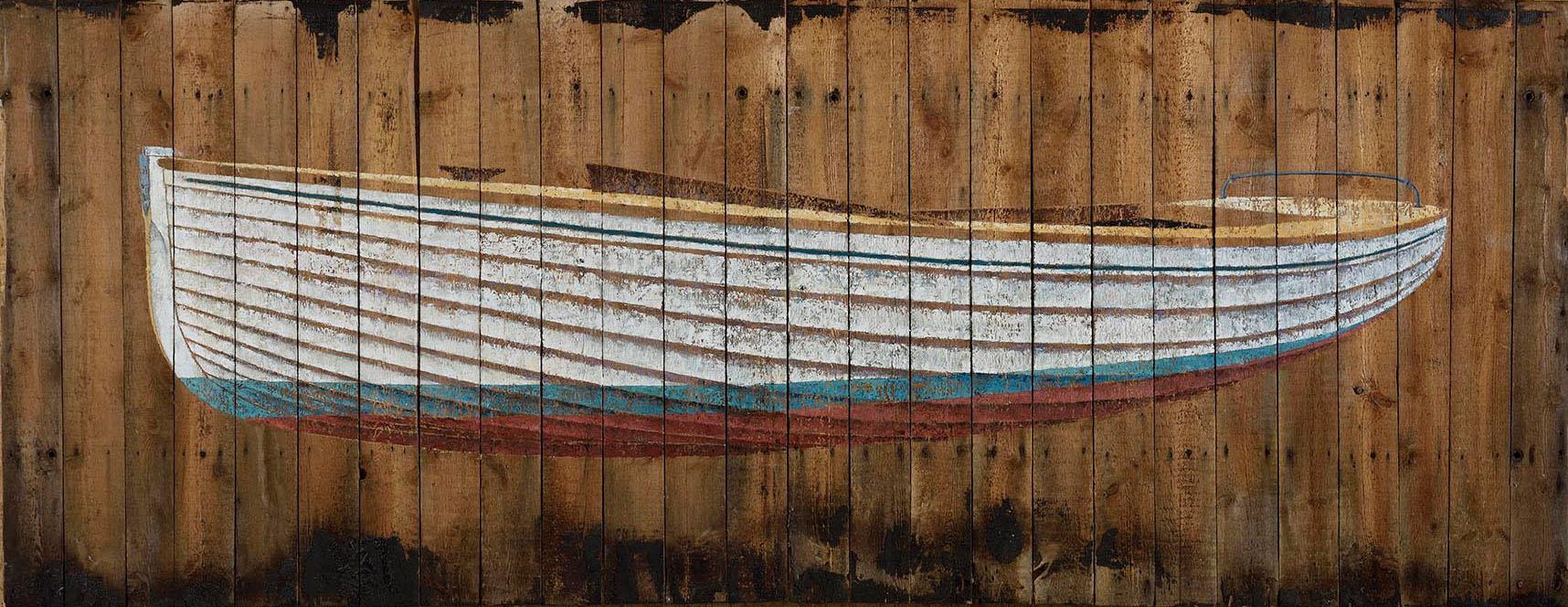 Number 1  (Brightlingsea One Design) 2015. 130 x 335cm Oil on beach hut roof. © James Dodds