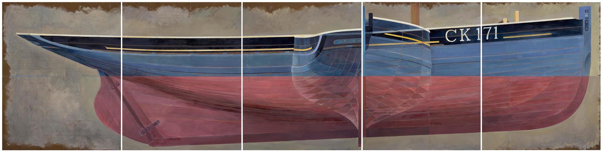 Colchester Fishing Smack , 153 x 610cm (oil on board in 5 panels) © James Dodds