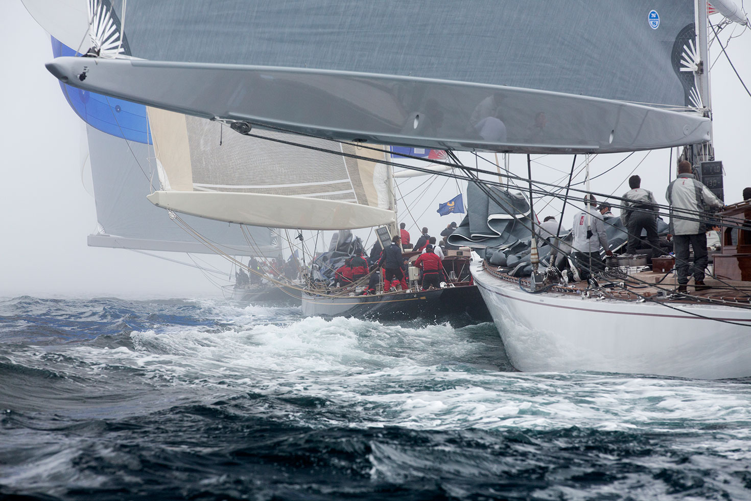 Photo: Lionheart leads Velsheda and lastly Ranger on a downwind leg (looks great blown up) at the J Class Falmouth 2012 © Emily Harris Photography