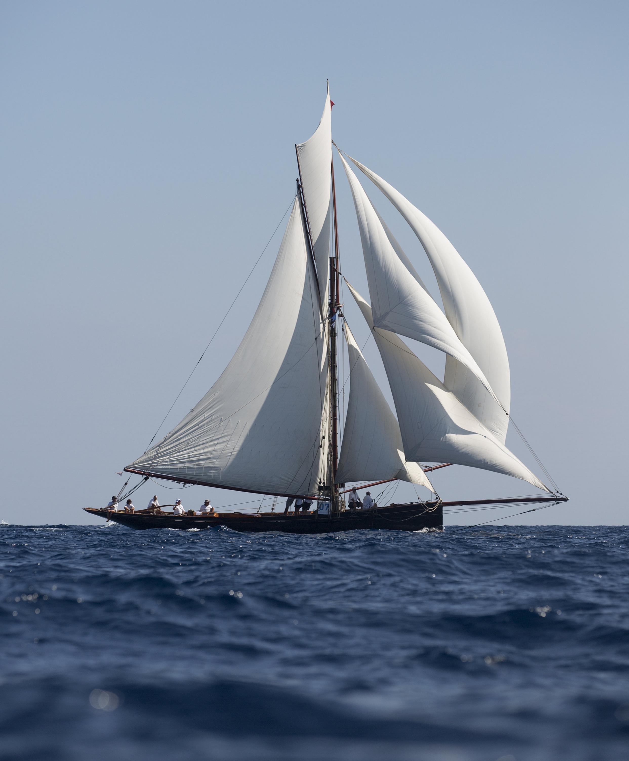 Above: Camper & Nicholson designed yacht MARIGOLD under full sail at Régate Royale Cannes Trophée Panerai 2014 © Emily Harris