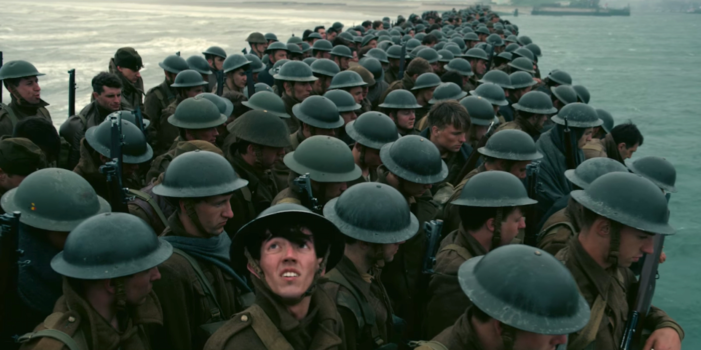 Film still from a land perspective in DUNKIRK (2017)