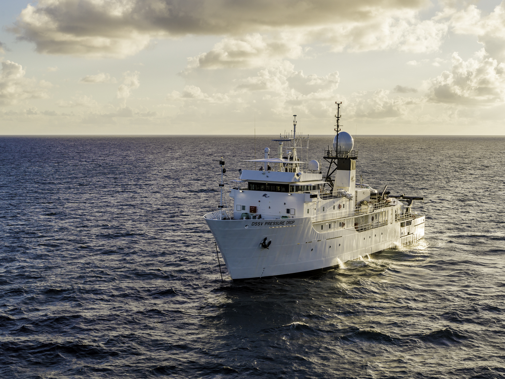 DSSV PRESSURE DROP, an ex-US Navy ship that's been refitted for the FIVE DEEPS expedition. ©EYOS Expeditions