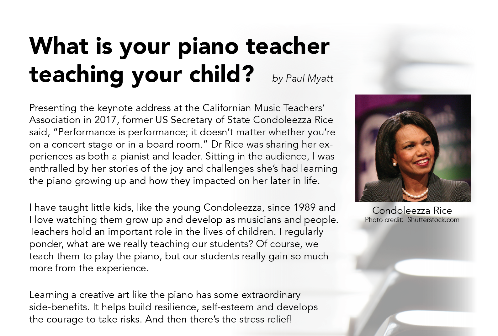 What is your Piano Teacher Teaching Your Child?