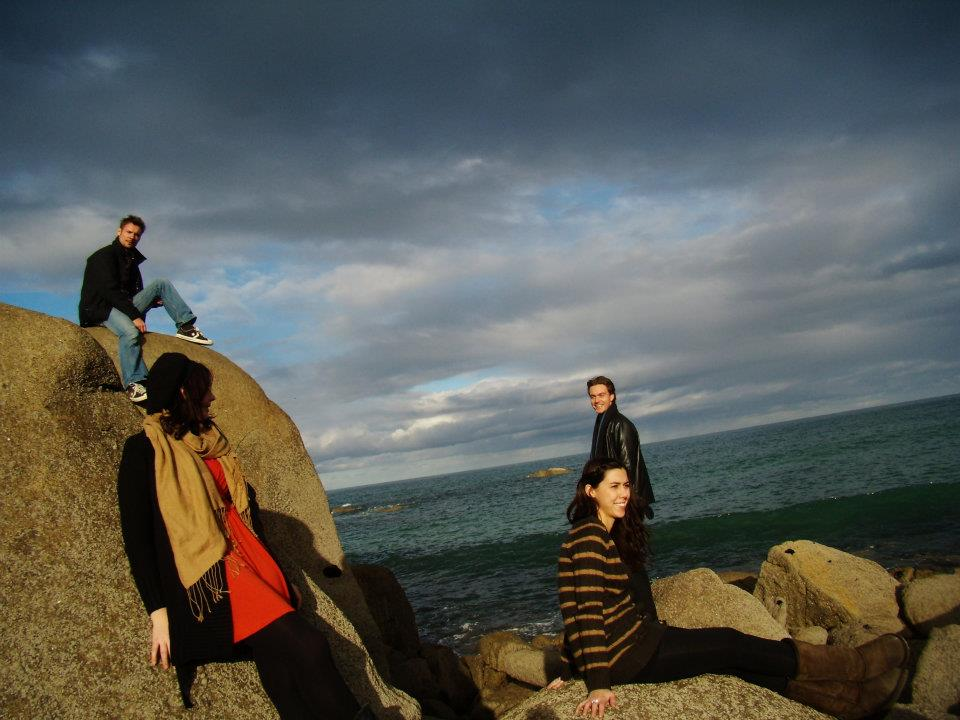 photographs can mean so much: Us all larking around on a trip to france, mocking up 'naff' album covers