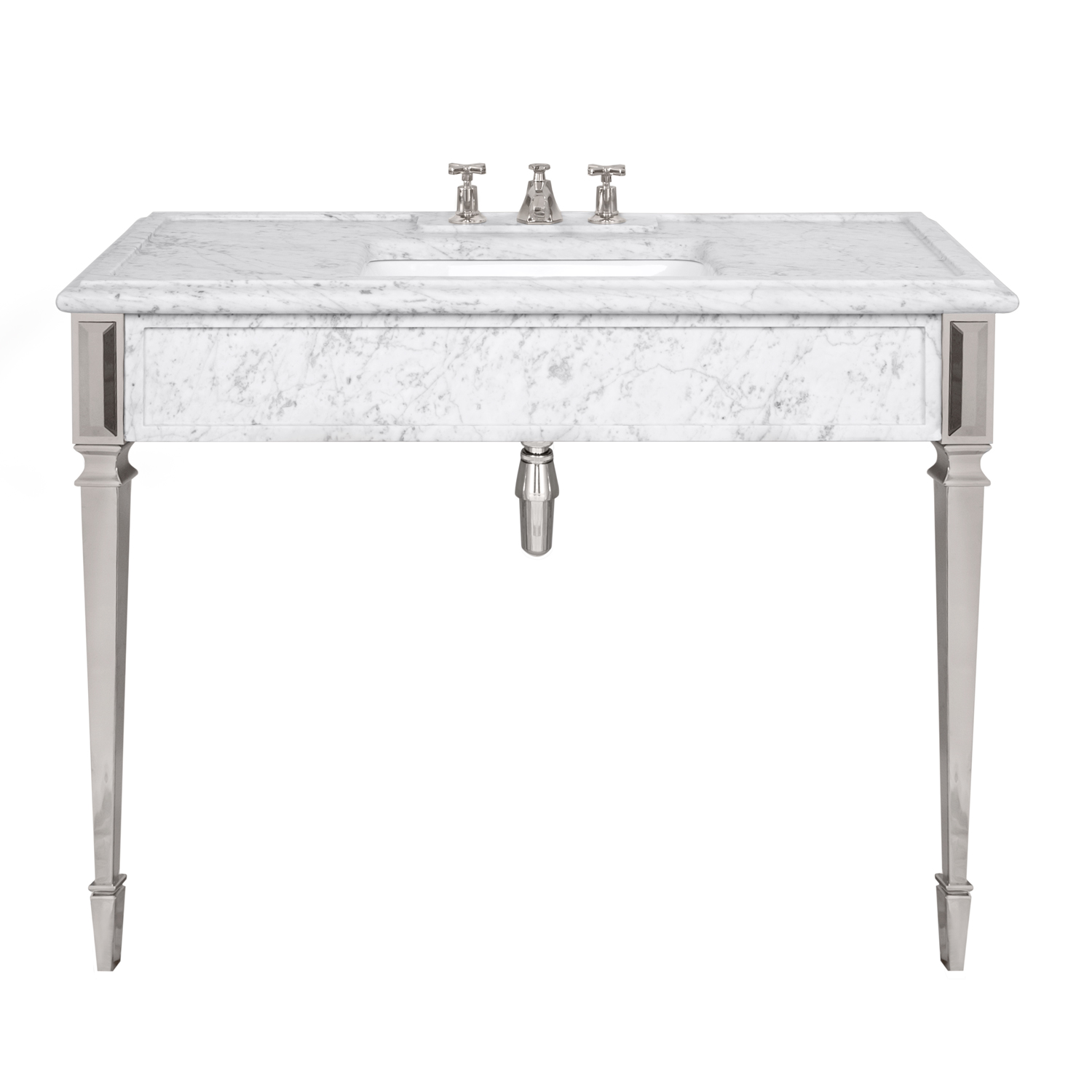 LB 6343 WH Mackintosh single white Carrara marble console