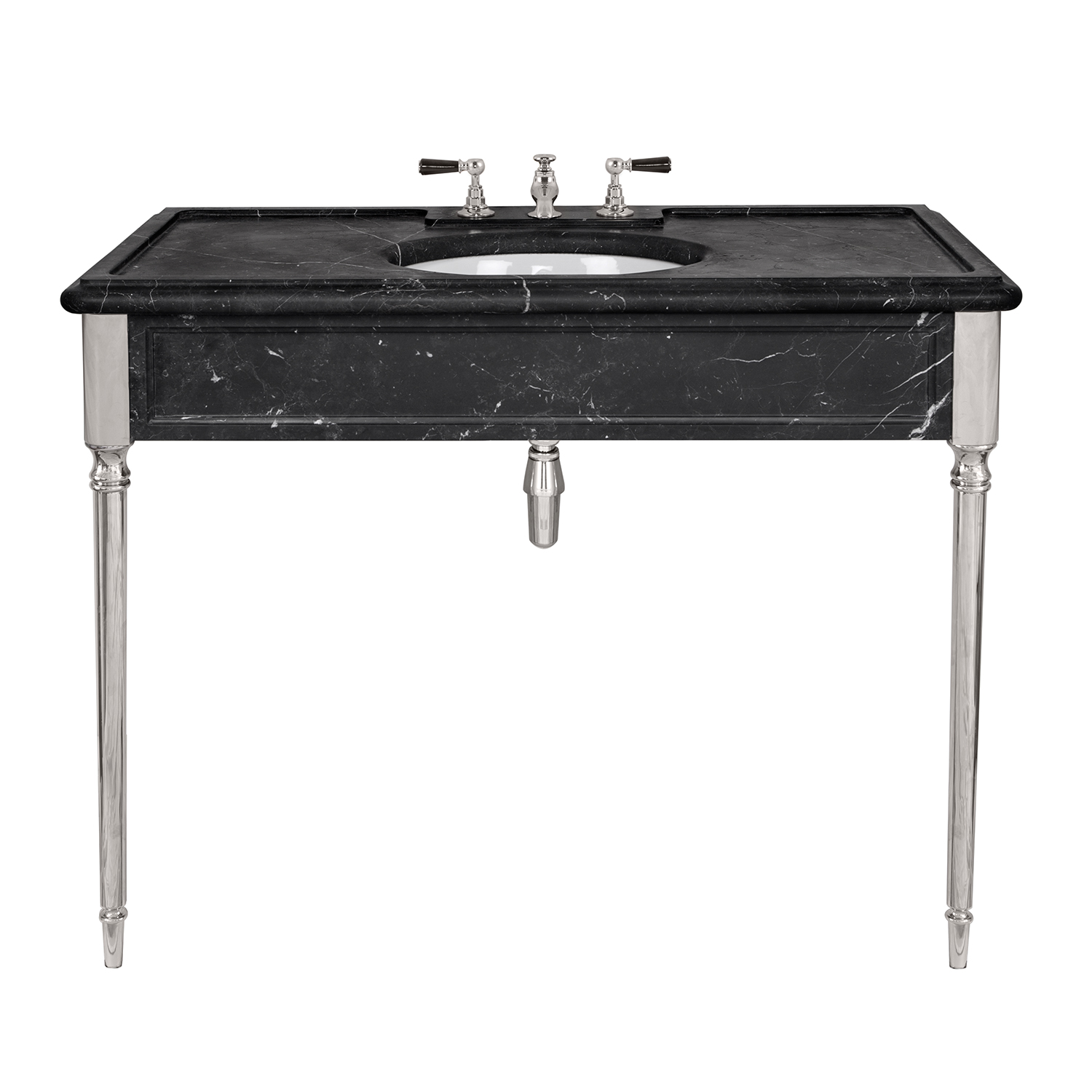 LB 6334 BK Edwardian single black Marquina marble console