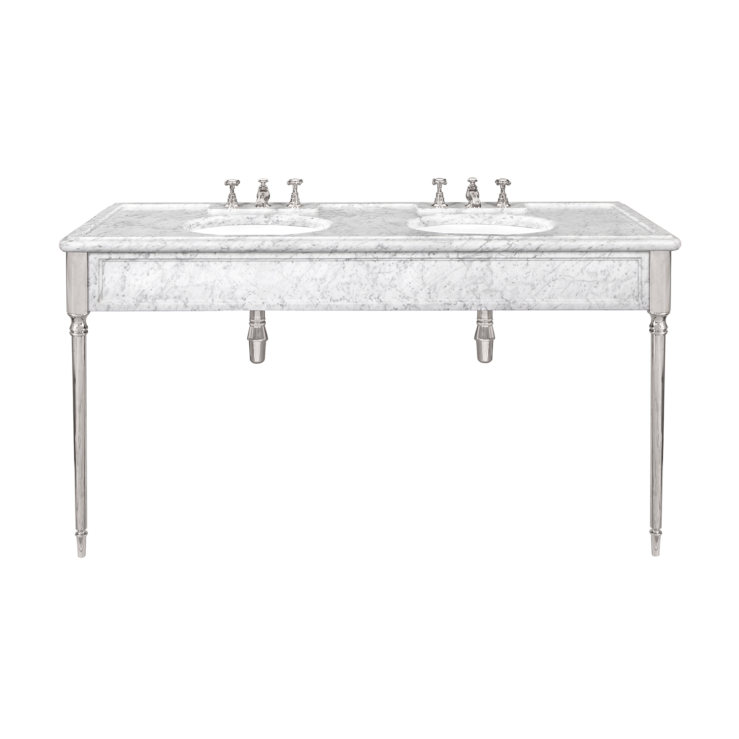 LB 6434 WH Edwardian double white Carrara marble console