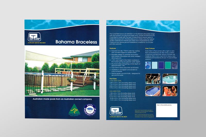 Sterns original brochures were dark and text heavy. They needed a cleaner, easy to read style that's stragety was to advertise their family friendly pools.
