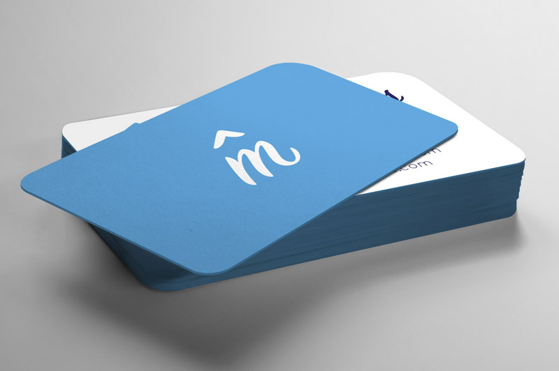Variety of branded colours for the business cards, with rounded corners keeping with the retro theme.