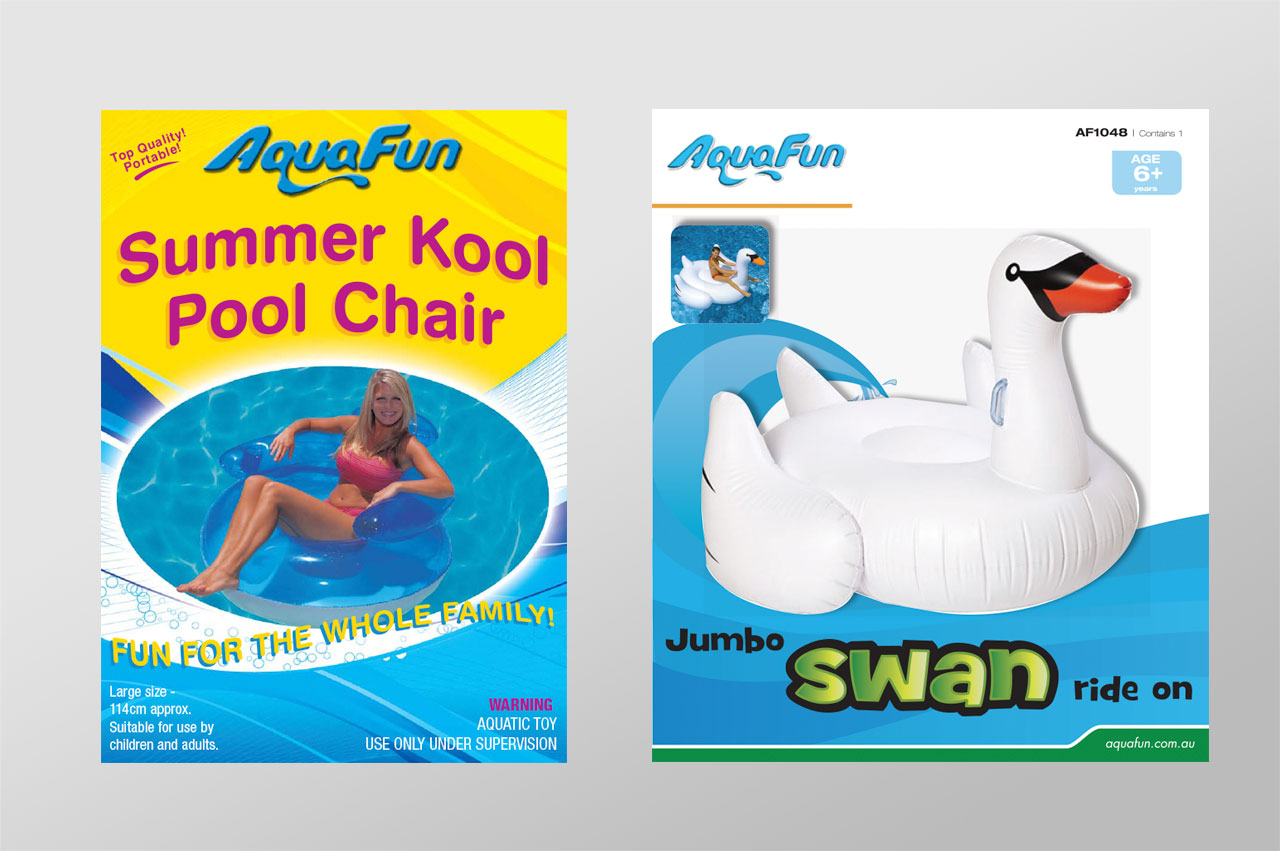 Aquafun previous packaging designs.