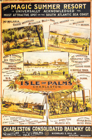This historic poster advertising the Isle of Palms' first incarnation as a destination beach resort is on display at The Charleston Museum, 360 Meeting Street, Charleston. charlestonmuseum.org