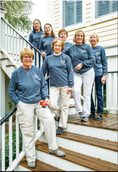 The 170 members of the Islands Turtle Team are led by this core team of seven. From top Tee Johannes, Mary Alice Monroe, Barb Gobien, Beverly Ballow, Linda Rumph, Mary Pringle, and Barbara Bergwerf. The team has proven so popular in its 18 years that there is currently a waiting list for new members. (Photo by Steve Rosamilia).
