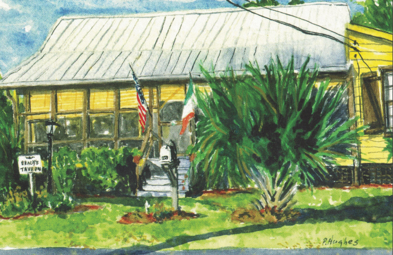 A painting of Brady's Tavern by Peggy Hughes.