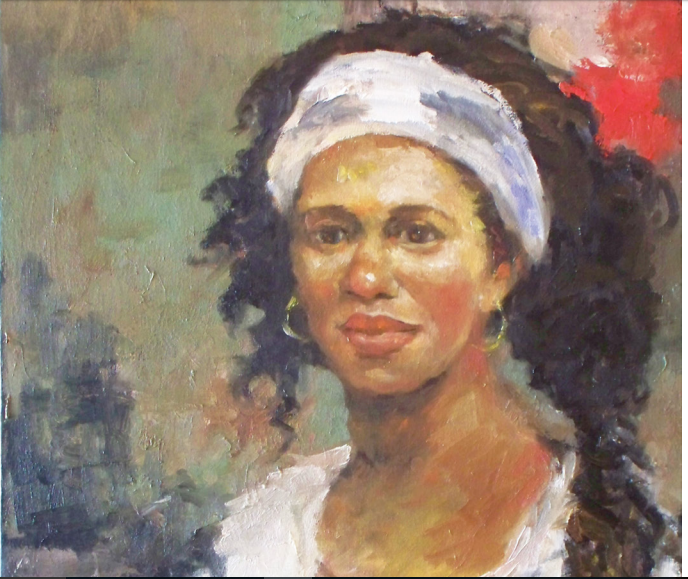 Woman with Long Braid, 24 x 18 oil on canva