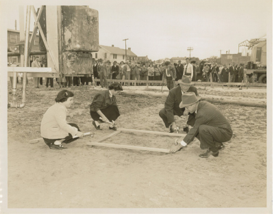 J.C. Long's two daughters help with a groundbreaking as mid-century development of Isle of Palms gets off the ground. (Photo courtesy The Beach Company)