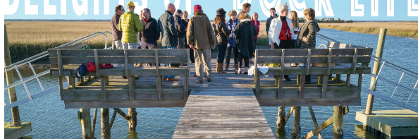 The community dock at Dewees hosts informal neighborhood gatherings all year.