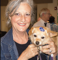 Fredda Culverts and her dog Sally at the SI Town Council Polls