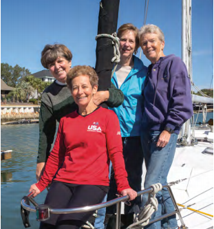 "Retired Navy nurses, Arlene Southerland, Alice Bova, Linda Daehn and Sue Widhalm still enjoy a sailor's life on Southerland's sailboat ""Serenity.""  (Photo by Steve Rosamilia)."