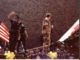 Arlene Southerland in a welcome home parade for Operation Desert Storm in Jacksonville, Florida 1990.