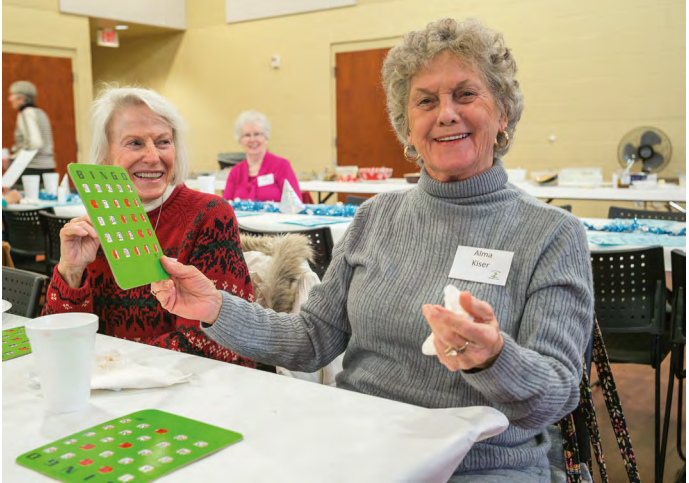 Alma Kiser wins a game of bingo