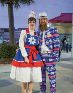 . Kira and Aaron Hazen all decked out for the holidays at the IOP Christmas Festival