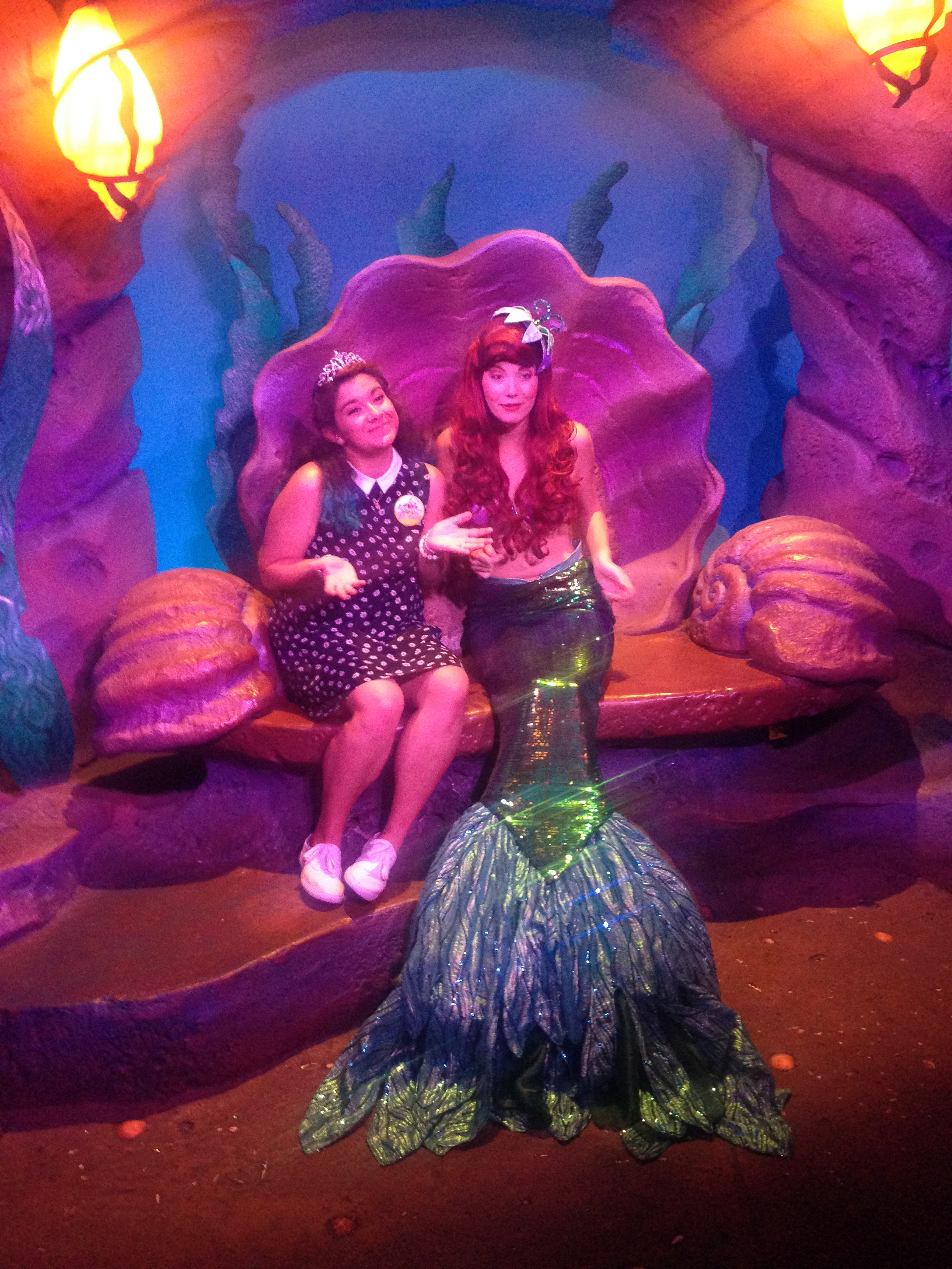 """This was right after I touched her tail. She said """"please don't! I am so ticklish!"""" which was TOTALLY code for  back off girl - don't touch my leg seeds . I get it Ariel, I get it."""