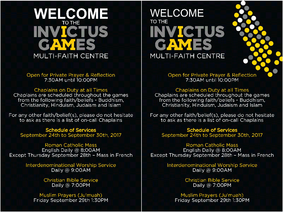 Main poster boards for the faith centre at the Invictus Games in Toronto
