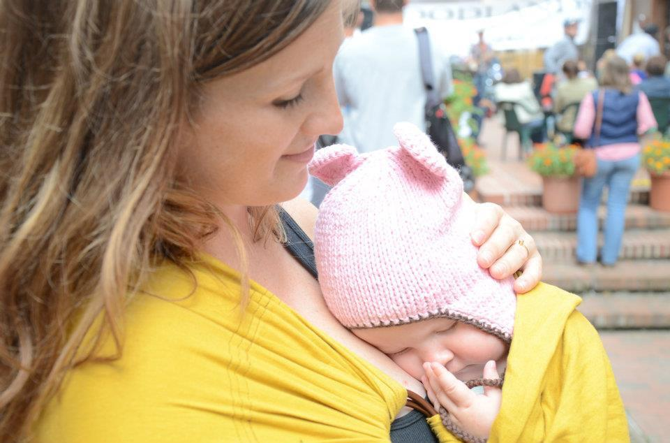 Here's how the goldenrod colored sling turned out, by the way! (And E passed out at her first rock concert.)