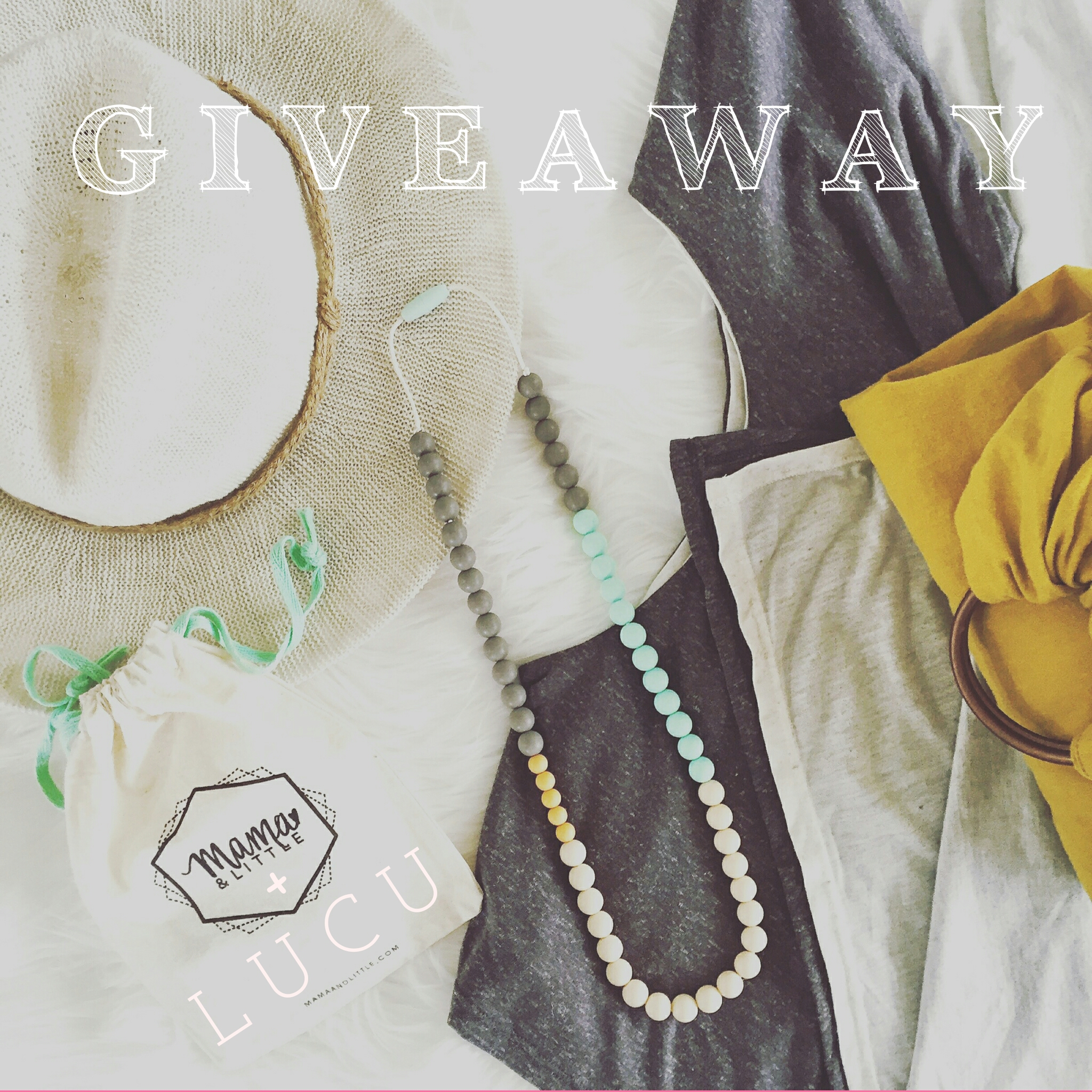 My diaper bag musts: Lucu Nest in Charcoal/ Oatmeal, Mama & Little Olivia Necklace in Sweet Mint, a Ring Sling, and a sun hat.