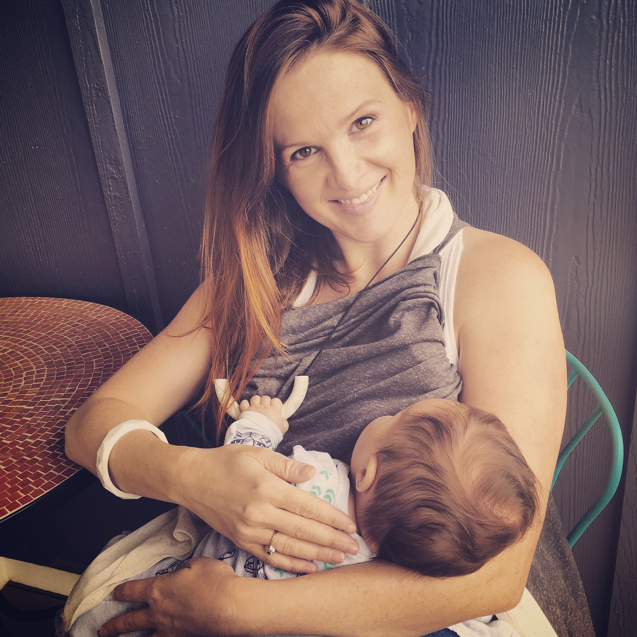 Lucu co-founder Lauren and Baby W. loving the Alexa Necklace and geometric Finley Bangle by Mama & Little