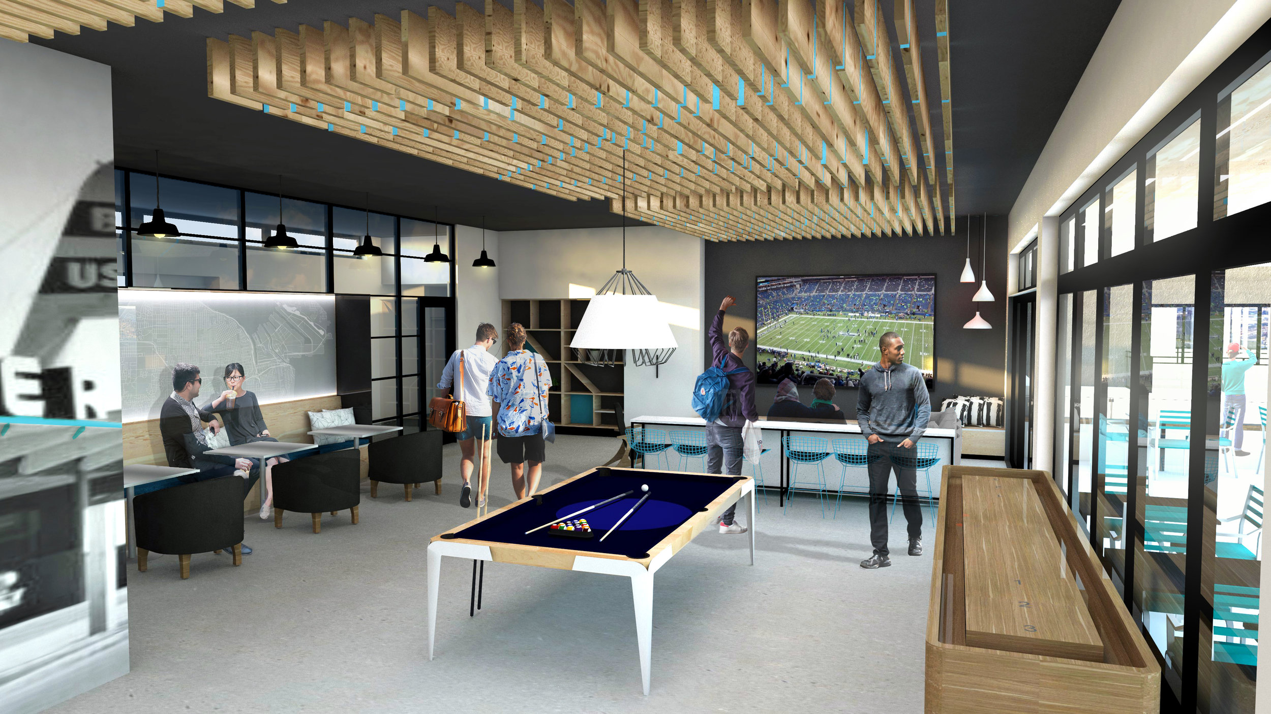 Work done for Ferguson Architecture - Resident Lounge  (Design by me and others - reclaimed wood ceiling design by me - rendering by others)
