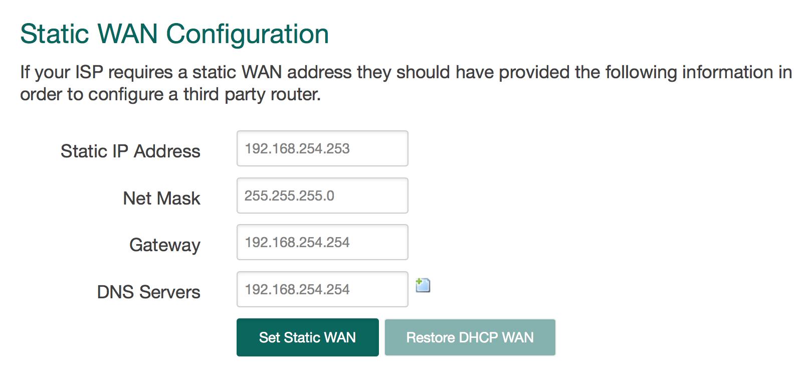Static Wan configuration