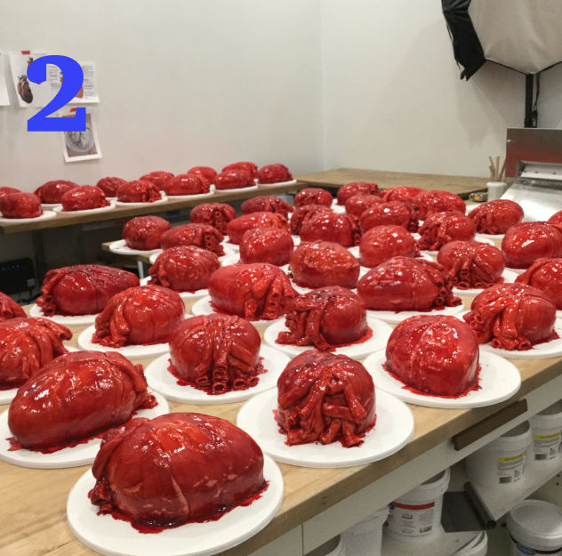 100 heart cakes, 2 coasts, 1 EPIC project! When we were approached to do cakes for the movie Mother!, we knew this was going to be one for the record books. Our Baltimore and Los Angeles bakeries worked together from opposite sides of the country, and we were able to put together over 100 anatomically correct human hearts make entirely out of cake. We studied the reference images of the human heart to make sure we were accurate. Our doctors would be proud of us! Hopefully everyone who received one of these were able to eat their hearts out!