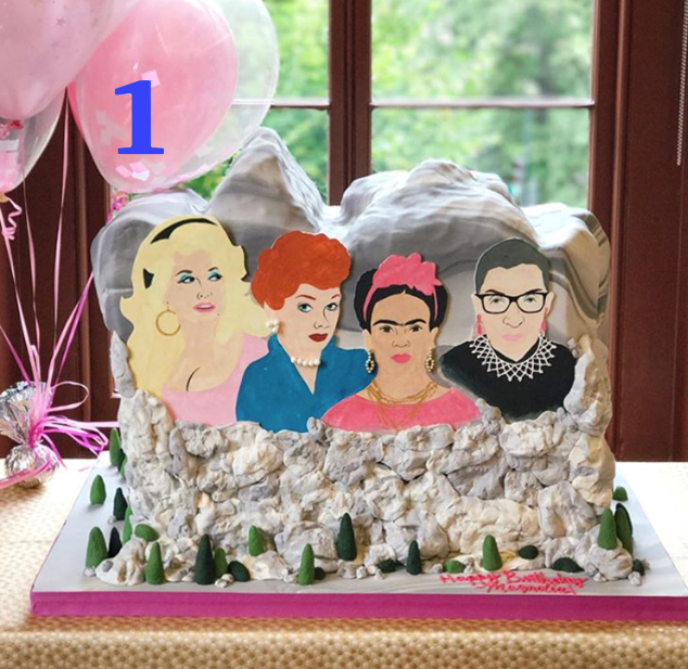 It was an honor to bring this cake to life. We were asked to make this cake for a very special little lady's first bday and we couldn't' think of a more fitting way to celebrate a very young woman's first year of life! Between Dolly, Lucille, Frida and RBG, this cake made us wish that this beauty was real! I guess that's one of the nice things about cake- if you can dream it, we can make it!