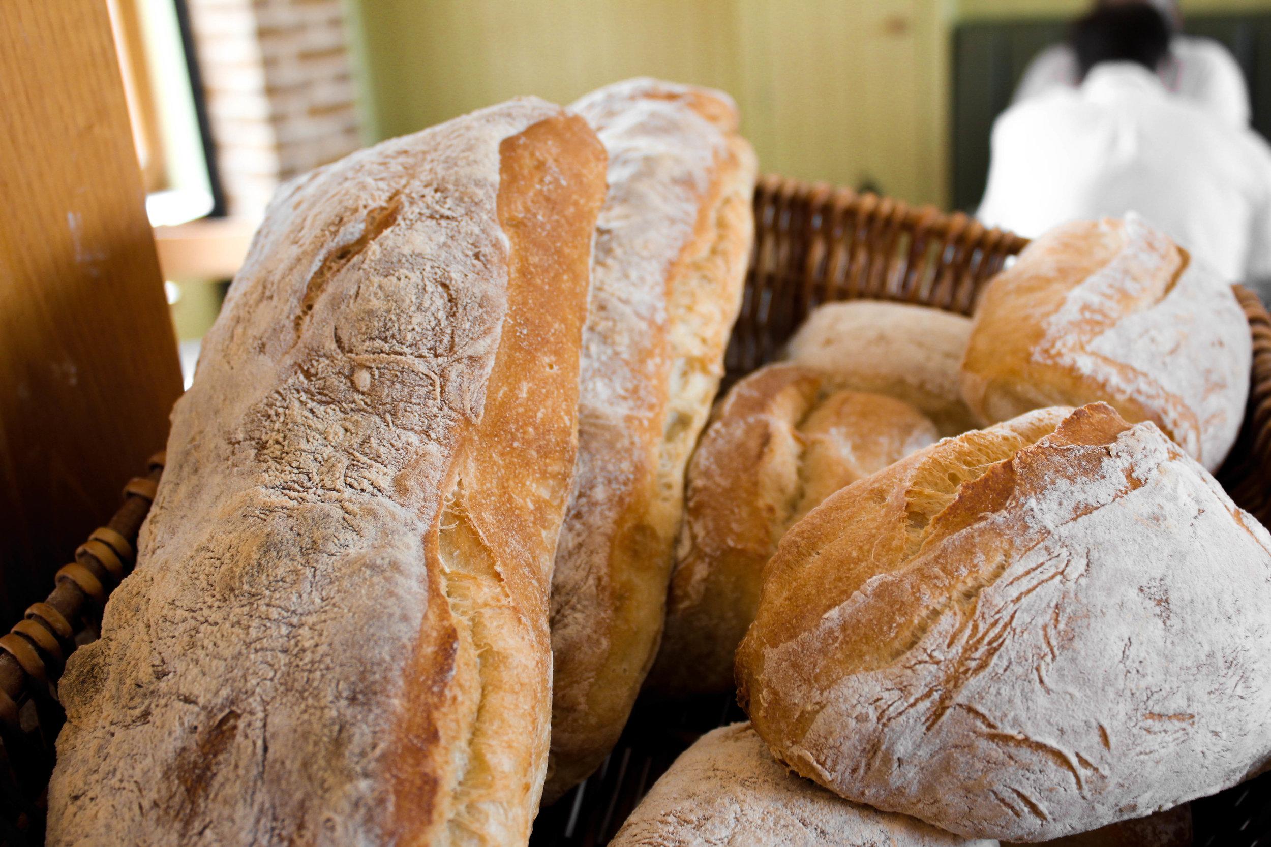 Freshly baked handmade bread.