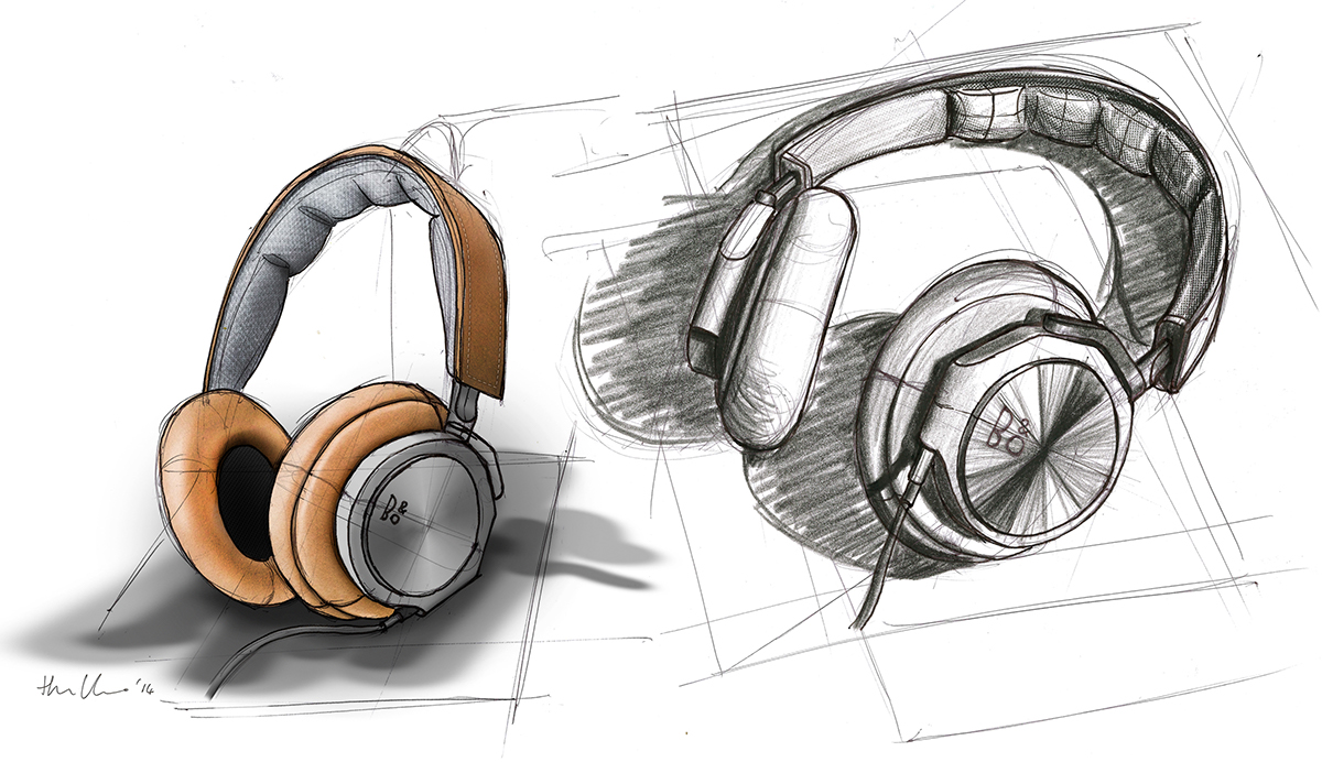 Bang&Olufson headphones sketch. The left pair were enhanced with materials in Photoshop. Both drawn by hand.