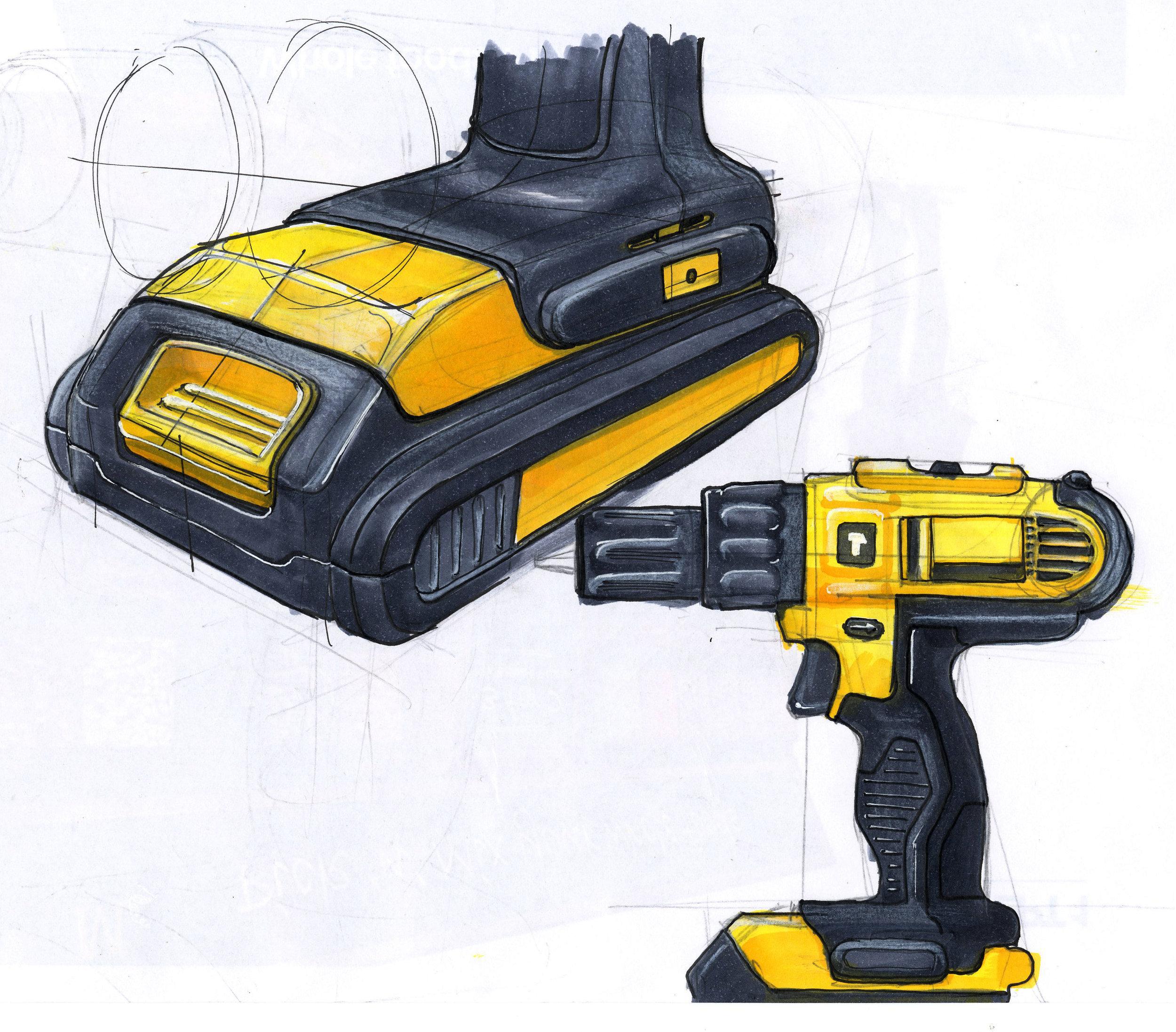 Sketch of a Dewalt 18 volt Cordless Drill. Marker, pen and pencil.