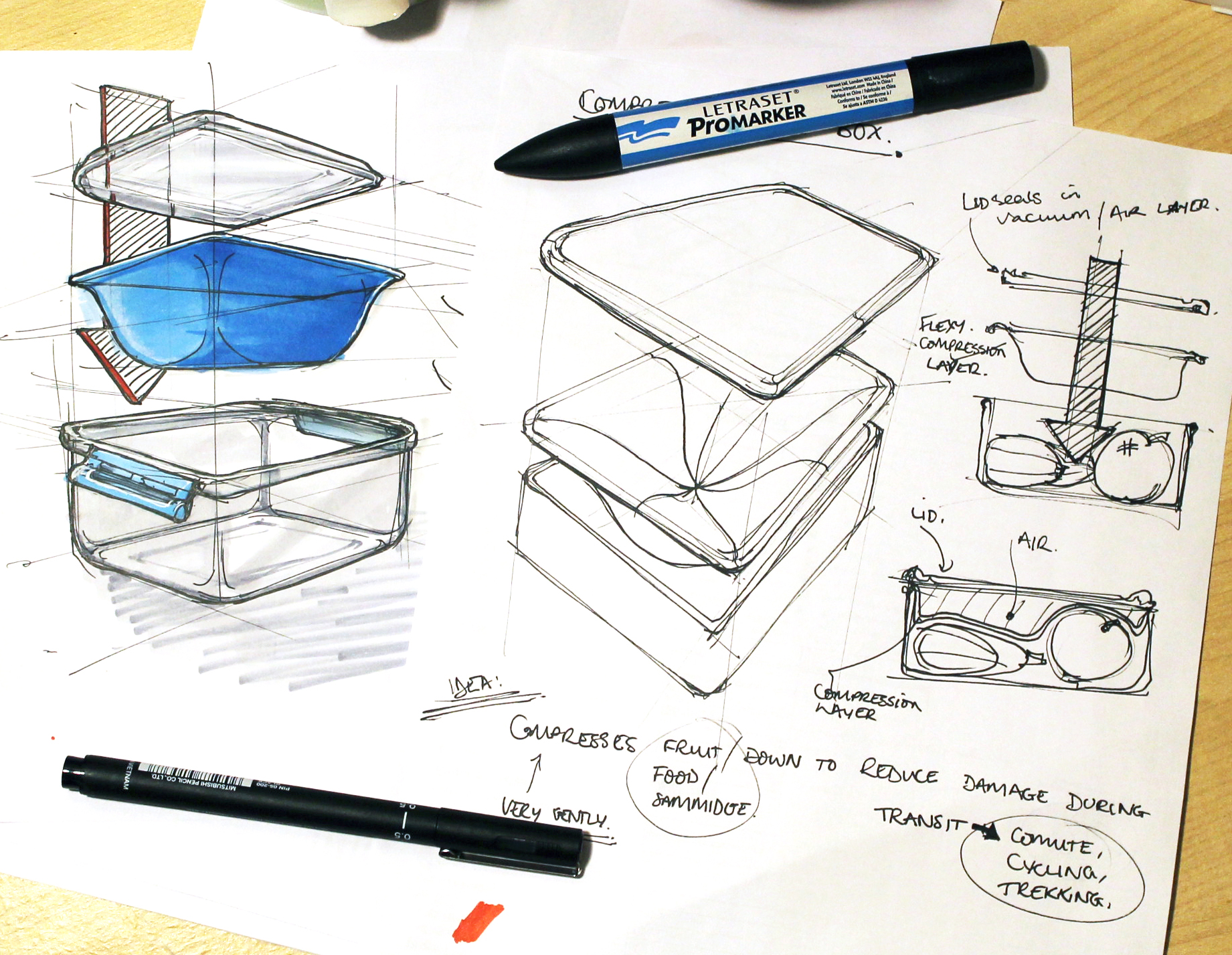 Thought about a lunch box that has an extra insert to secure the contents in place whilst in transit. Nobody likes bruised apples and deconstructed sandwiches.Marker, pen and pencil.