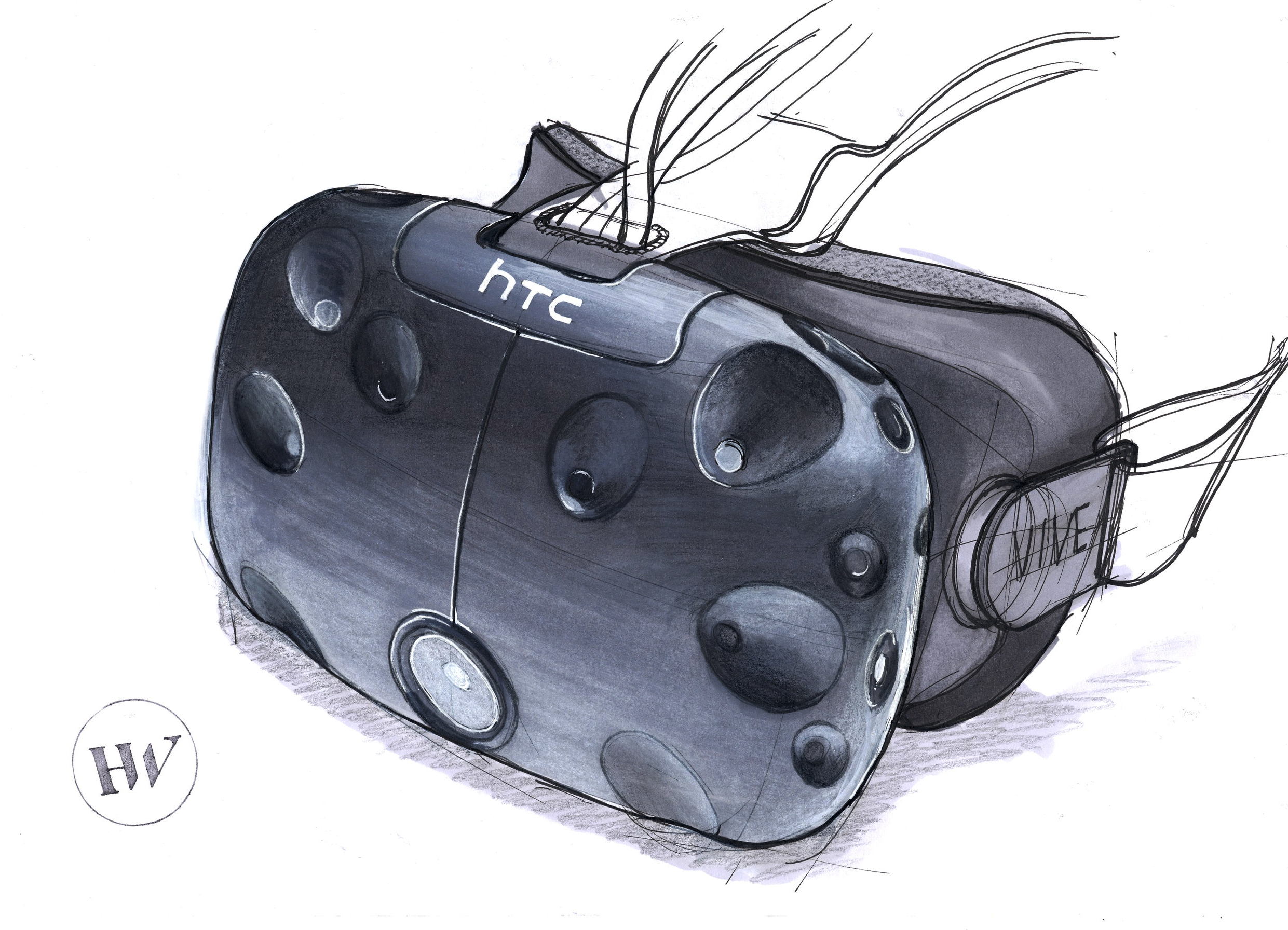 HTC's VIVE virtual reality headset.Marker, pen and pencil.