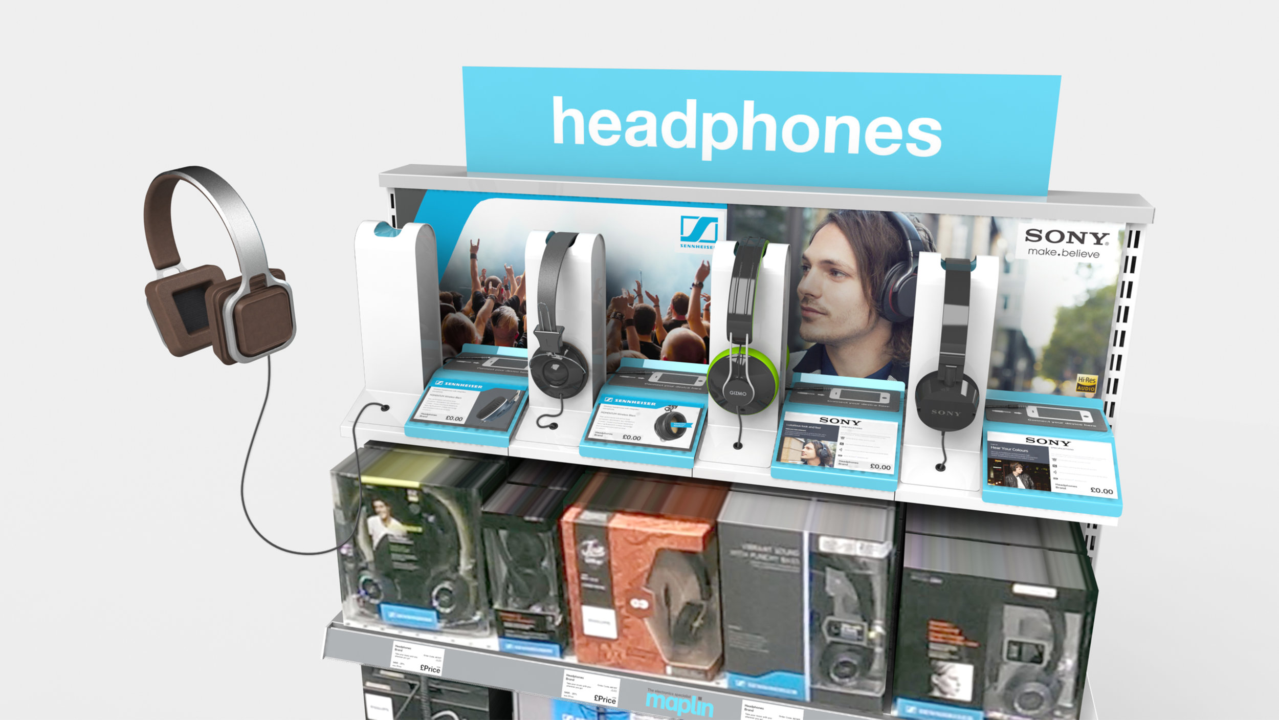 Modular Headphone Display for Maplin Electronics. Prototyped but not manufactured.