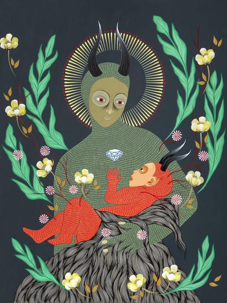 """Mother and Child"" Painting by Hannah Dansie in a folk art inspired style depicting a ""devil"" mother cradling her child with floral motifs surrounding."