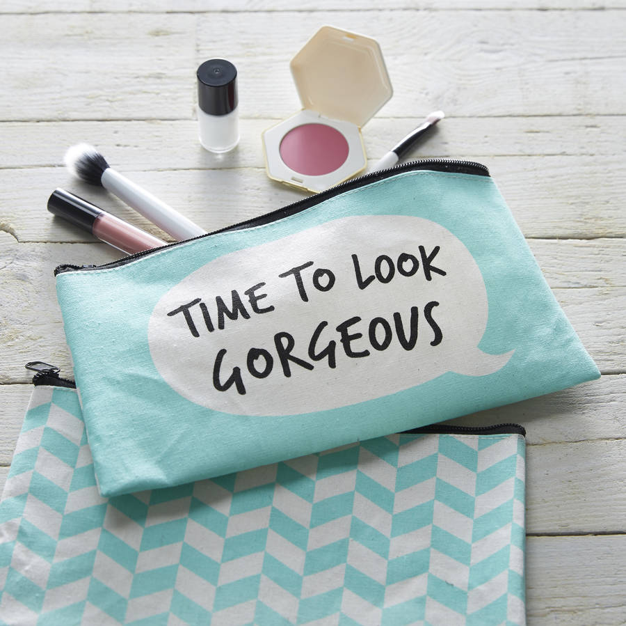 THE CONTEMPORARY HOME ON NOT ON THE HIGH STREET - TIME TO LOOK GORGEOUS MAKE UP BAG POUCH £10