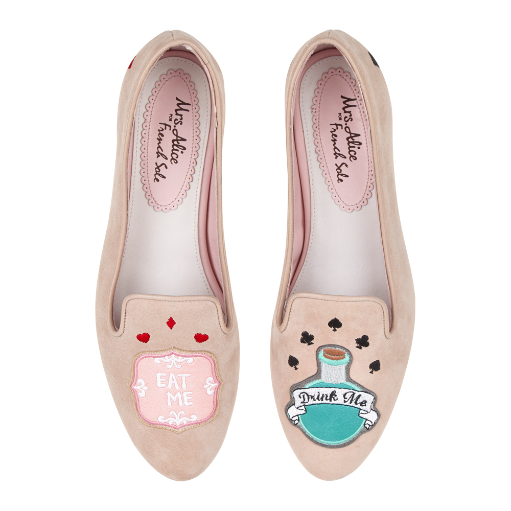FRENCH SOLE - TAUPE SUEDE EAT ME DRINK ME EMBROIDERY MOTIF £195