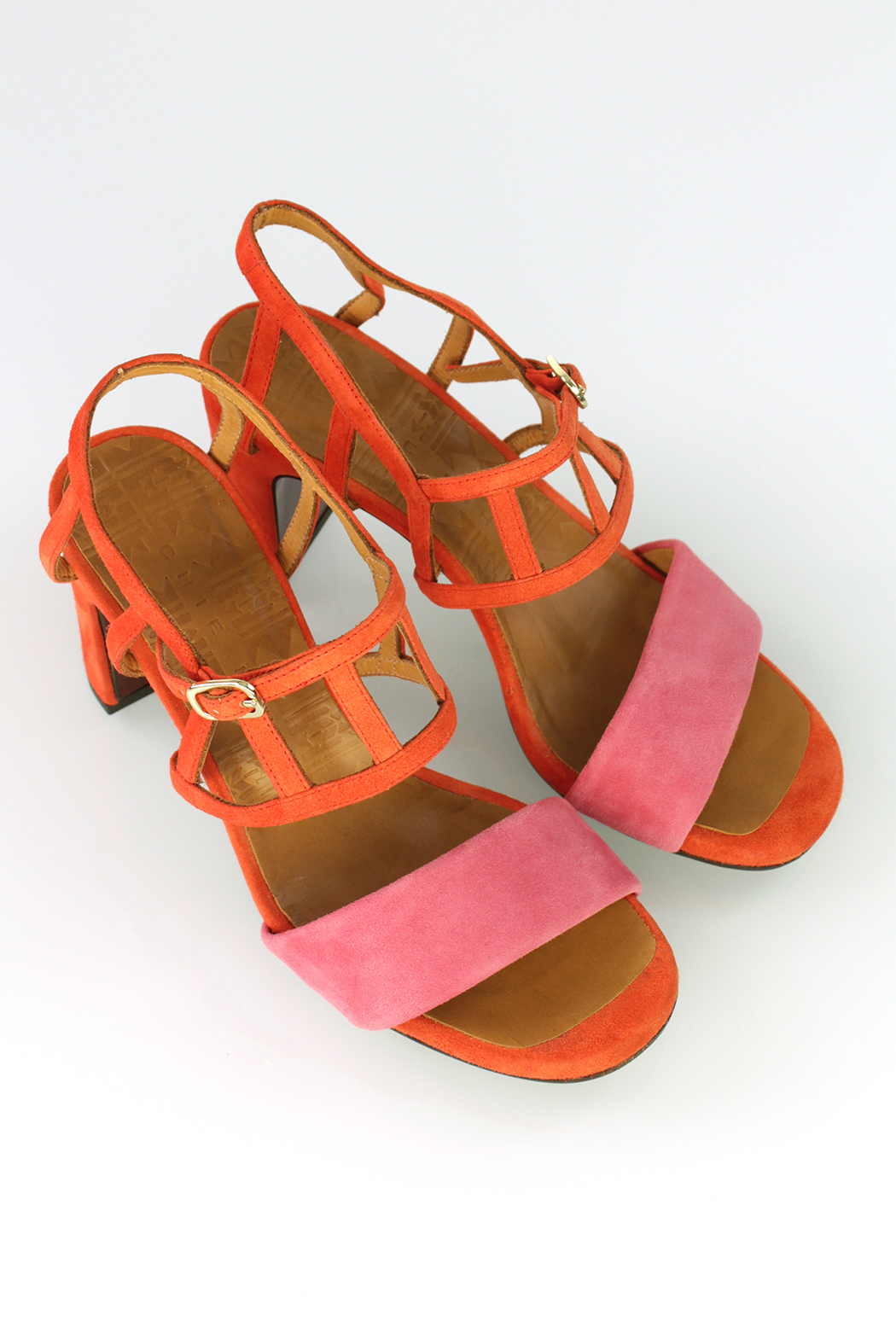 GRACE & MABEL - CHIE MIHARA LUNCH B CORAL AND RED SUEDE SANDALS  £61.50