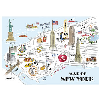 Alice Tait Map of New York Print