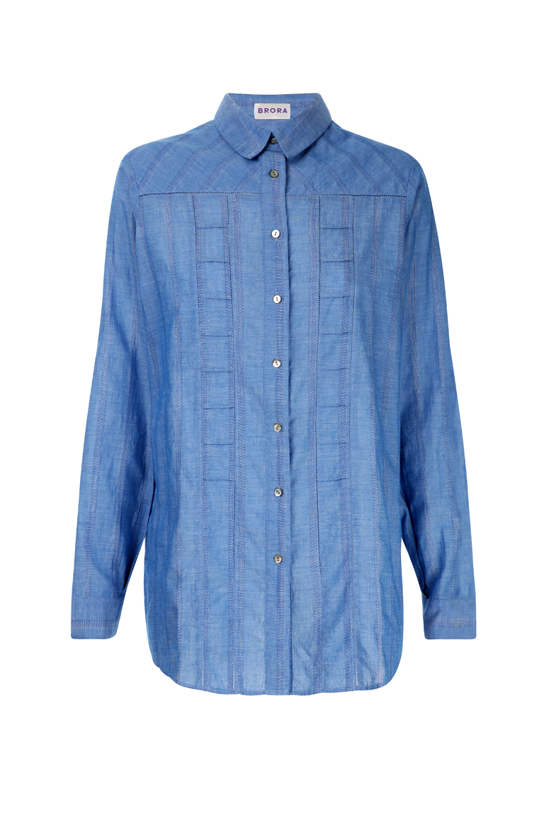 BRORA - BOYFRIEND TEXTURED COTTON SHIRT IN SKY BLUE - £109