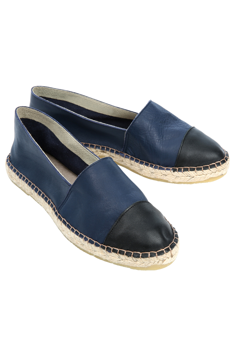 BRORA - TWO TONE LEATHER ESPADRILLES IN NAVY & BLACK - £79